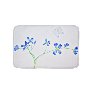 Blue Butterfly and Wildflowers Bath Mat