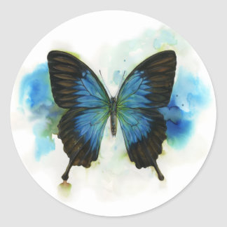 Blue Butterfly Any Occasion Stationery Classic Round Sticker