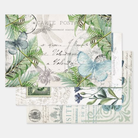BLUE BUTTERFLY APOTHECARY DECOUPAGE WRAPPING PAPER SHEETS
