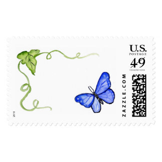 Blue Butterfly Art Painting Postage Stamps