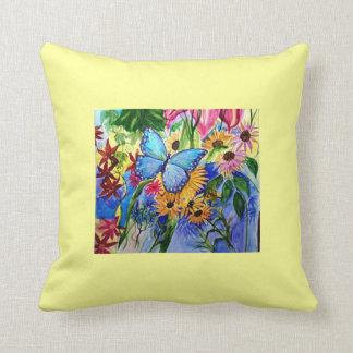 Blue Butterfly art reversible Throw Pillow