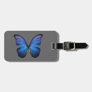 blue butterfly bag tag