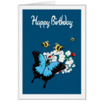 Blue Butterfly Birthday Card - Add own greeting