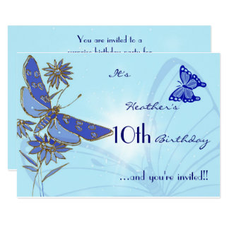 Blue Butterfly Birthday Invitation Card