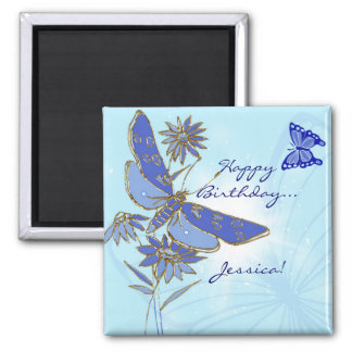 Blue Butterfly Birthday Magnet