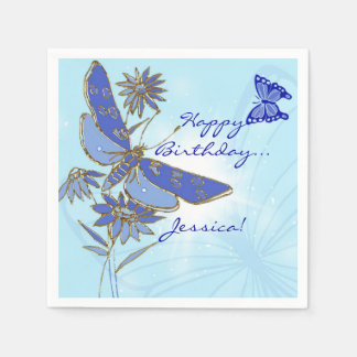 Blue Butterfly Birthday Paper Napkins
