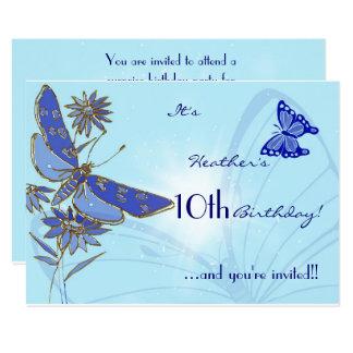 Blue Butterfly Birthday RSVP Invitation Card