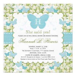 Blue Butterfly Bridal Shower Invitations Monogram