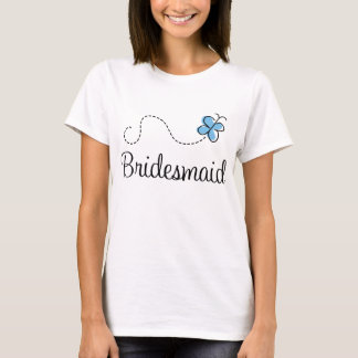 Blue Butterfly Bridesmaid Ringer Tee