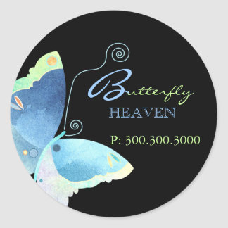 Blue Butterfly Business Label Classic Round Sticker