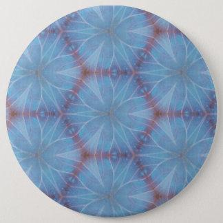 Blue Butterfly Caleidoscopic Pattern Pinback Button