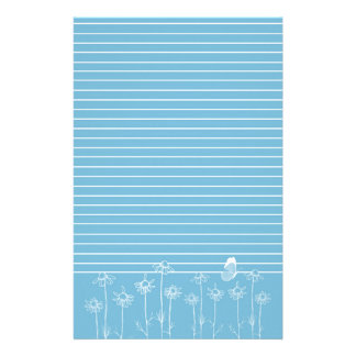 Blue Butterfly Chamomile Flowers White Lined Stationery