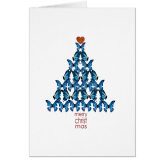 Blue Butterfly Christmas Tree Card