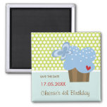 Blue Butterfly Cupcake Cute Birthday Save The Date 2 Inch Square Magnet