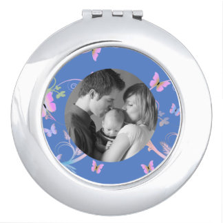 Blue Butterfly Custom Photo Compact Mirror