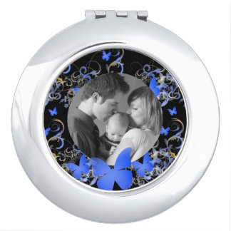 Blue Butterfly, Custom Photo Mirror For Makeup