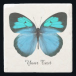 "Blue Butterfly Custom Stone Coaster<br><div class=""desc"">Pretty stone coaster with digital graphics of a blue,  black,  and turquoise blue butterfly.  Black text reads whatever you want it to say.  Makes a lovely gift idea.</div>"