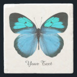 """Blue Butterfly Custom Stone Coaster<br><div class=""""desc"""">Pretty stone coaster with digital graphics of a blue,  black,  and turquoise blue butterfly.  Black text reads whatever you want it to say.  Makes a lovely gift idea.</div>"""