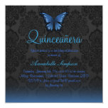 Blue Butterfly & Damask Quinceanera Invite