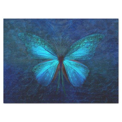 Blue Butterfly Decoupage Tissue Paper