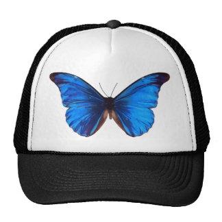 blue butterfly design trucker hat
