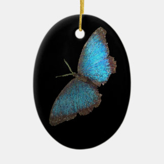 blue butterfly ( digital image ) Double-Sided oval ceramic christmas ornament