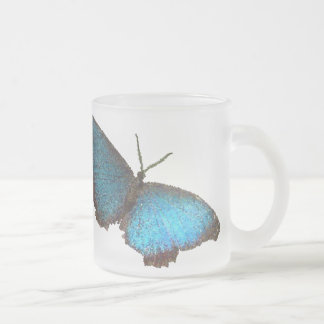 blue butterfly ( digital image ) frosted glass coffee mug