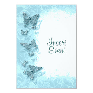 Blue butterfly elegant birthday wedding card