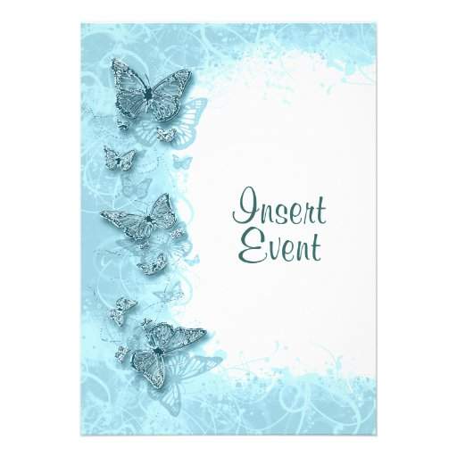 Blue butterfly elegant birthday wedding personalized announcement