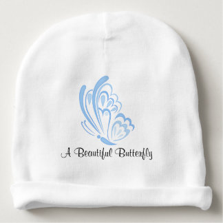 Blue Butterfly Embellishment Baby Beanie