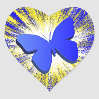 Blue Butterfly Explosion Heart Sticker