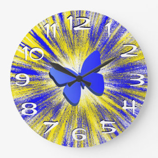 Blue Butterfly Explosion Wall Clock Large Numbers