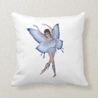 Blue Butterfly Fairy Princess Throw Pillow