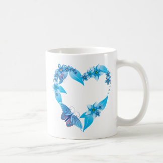 Blue Butterfly Floral Heart Coffee Mug