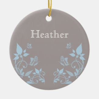 Blue Butterfly Floral Ornament