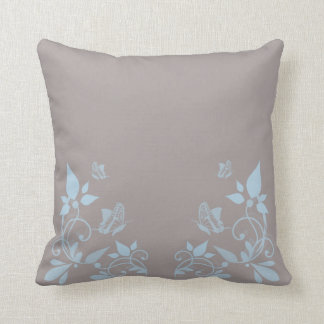 Blue Butterfly Floral Pillow