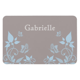 Blue Butterfly Floral Premium Magnet