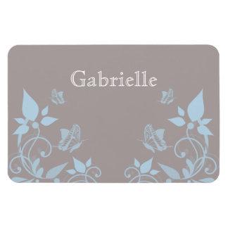 Blue Butterfly Floral Premium Magnet