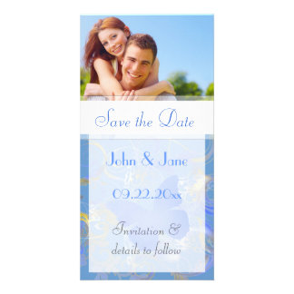 """Blue Butterfly Flourish/photo  """"Save the Date"""" Card"""