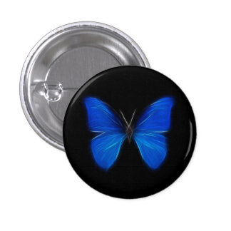 Blue Butterfly Flying Insect 1 Inch Round Button