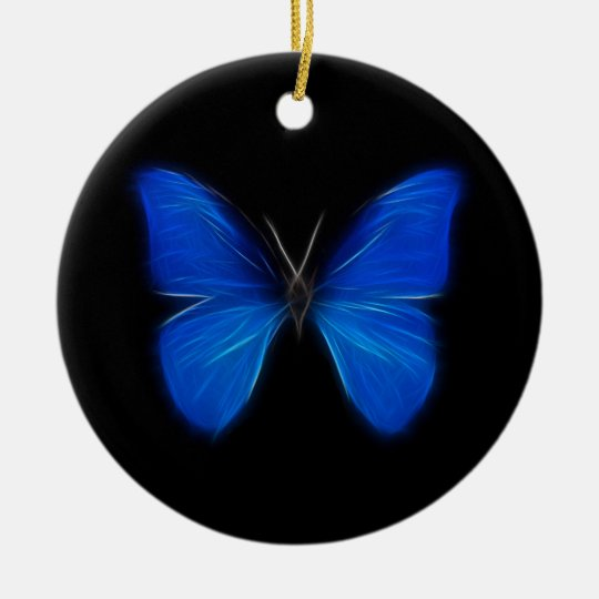 Blue Butterfly Flying Insect Ceramic Ornament