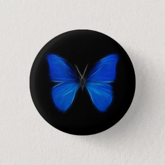 Blue Butterfly Flying Insect Pinback Button