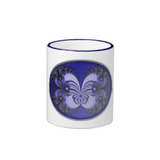 Blue Butterfly Fractal 200706070030 Ringer Coffee Mug