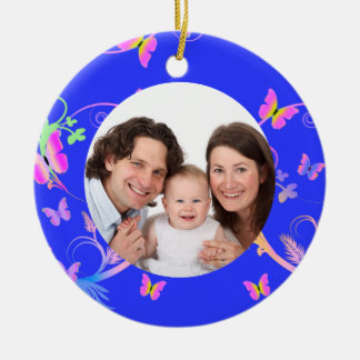 Blue Butterfly Frame Christmas Tree Ornament