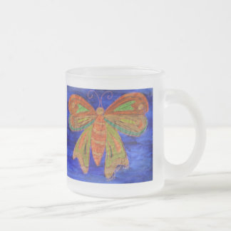 Blue Butterfly Frosted Glass Coffee Mug