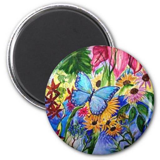 Blue Butterfly Garden 2 Inch Round Magnet