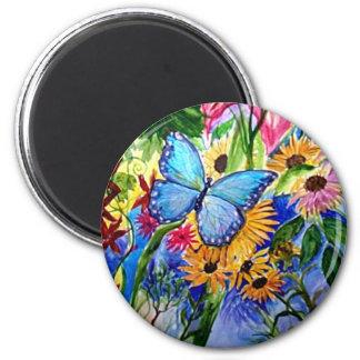 Blue Butterfly Garden Fridge Magnet
