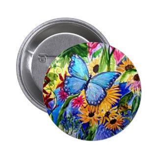 Blue Butterfly Garden Pinback Button