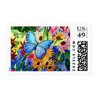Blue Butterfly Garden Stamp
