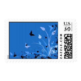 Blue Butterfly Grunge Postage